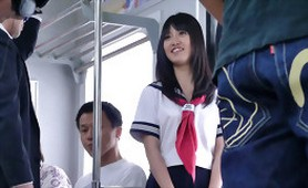 Pretty Asian Schoolgirl Brutally Gangbanged while Traveling on the Train