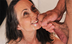 Fresh Load of Young Jizz Covered her Granny Happy Face