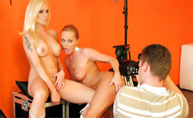 Photo Session with Two Hot Blonde Pornstars