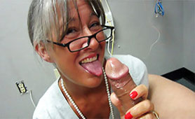 Slutty Granny Gives Awesome Handjob to Old Friend from her Youth