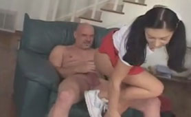 Older Fucker Prepares his Fat Cock for her Young Shaved Pussy